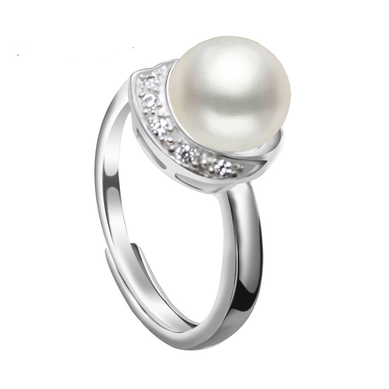 ASHIQI Real Natural Freshwater Pearl Rings For Women Wedding 925 Sterling Silver Jewelry Wholesale