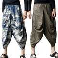 Men Bloomers trousers Japanese Samurai Nepal Style Boho Casual Low Drop Crotch Loose Fit Harem Baggy Hakama Capri Linen Pants