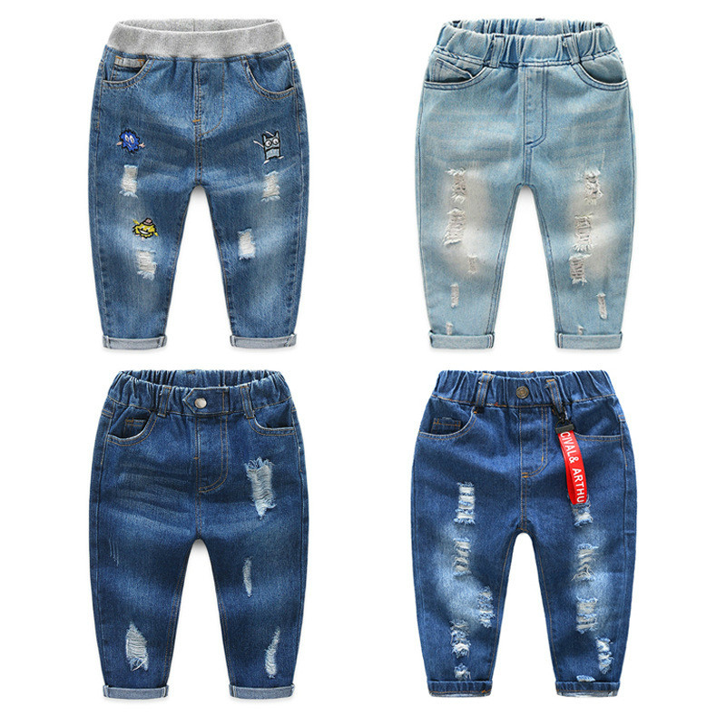 Jeans Trousers Designed-Pants Spring-Fall Dark-Blue Infantil Baby-Boy Boys Kids Fashion