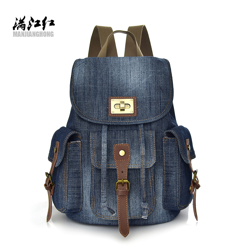 2018 vintage jeans backpack fanshionable girls travel bag males leisure backpack student backpack
