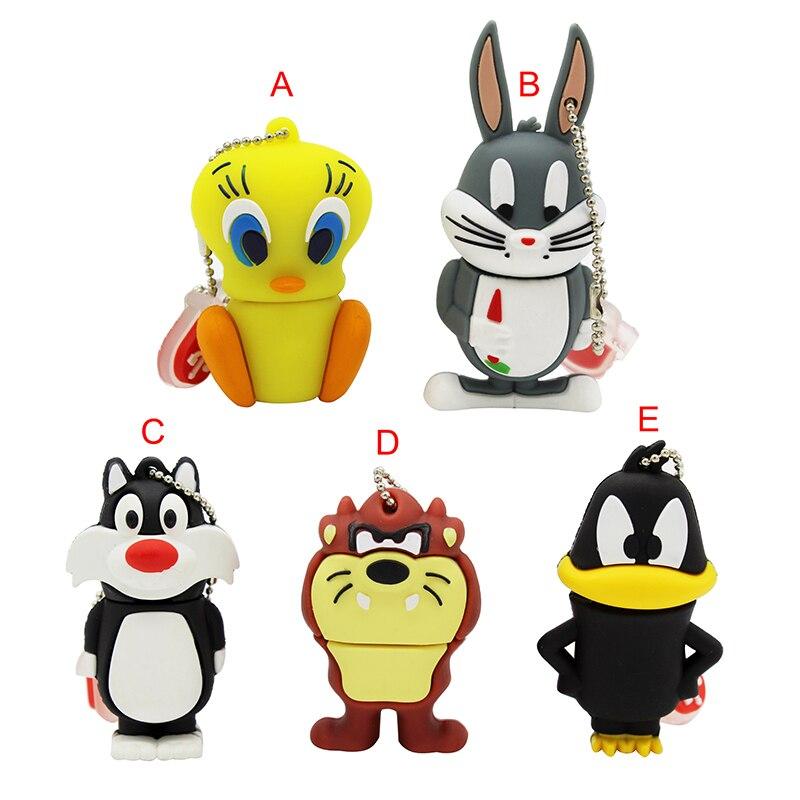 Looney Tunes Usb Flash Drive 32GB Pendrive 16GB 8GB 4GB Bugs Bunny Daffy Duck Cartoon Hot Sale Animal Pen Drive Usb 2.0