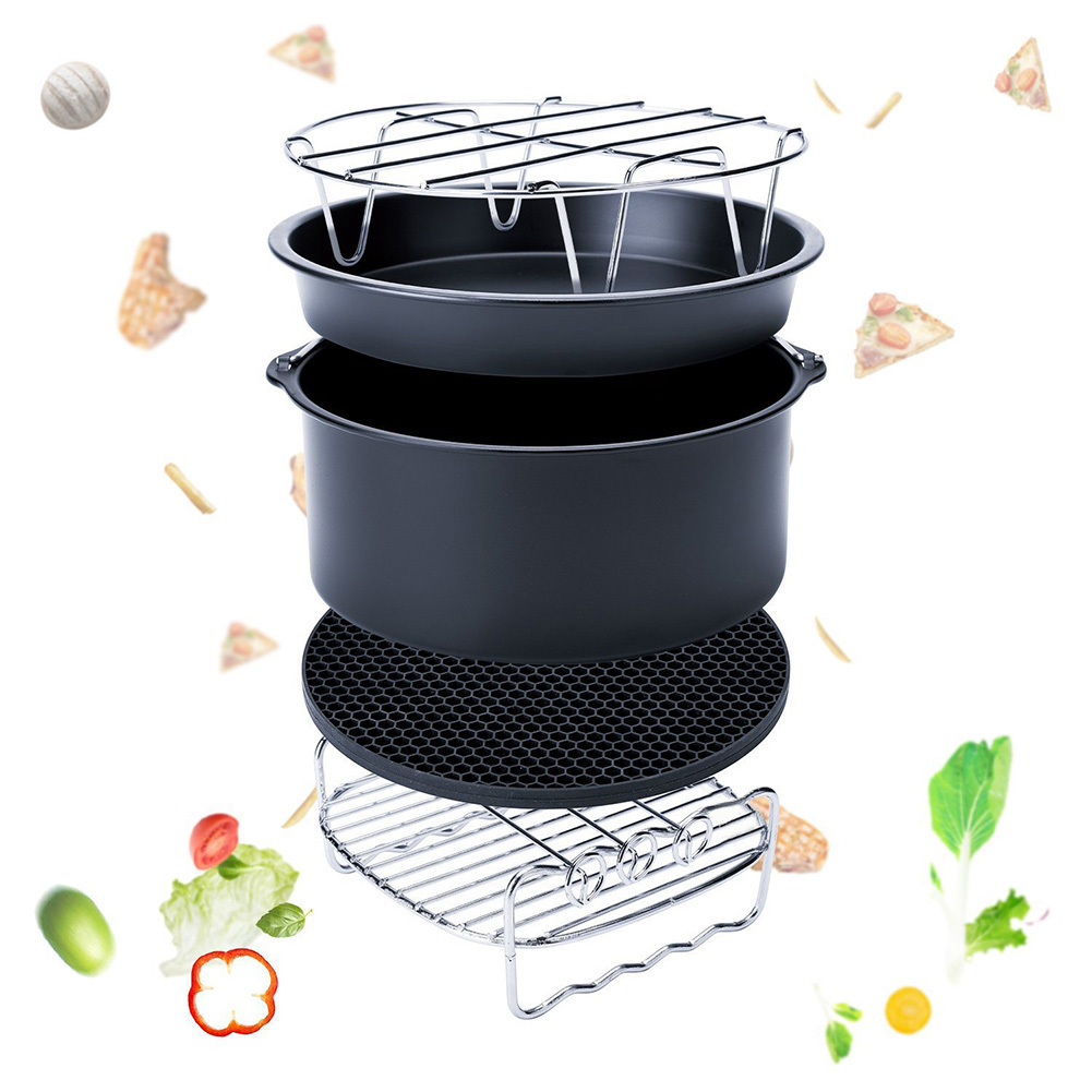Hot High Quality 5-Set Air Fryer Accessories For Gowise Phillips Cozyna Fit 3.7-5.8QT Cake Barrel Pan Rack Mat Kit HY99