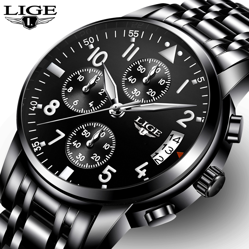 relogio masculino LIGE Mens Watches Top Brand Luxury Fashion Business Quartz Watch Men Sport Full Steel Waterproof Black Clock лонгслив синий hugo boss ут 00007186