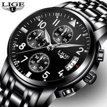 LIGE  Full Steel Black Clock LG9825