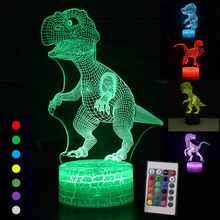 3D Illusion Dinosaur Christmas 7 Color Touch Remote Control Animal Visual Lights Glow In The Dark Toys for New Year Boy Gifts(China)