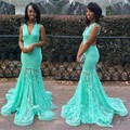 Lace Mermaid Turquoise Prom Dresses 2017 Mint Green Long Backless African abendkleider Evening Party Gown Vestidos De Formatura