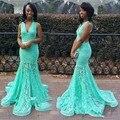 Lace Sereia Vestidos de Baile Turquesa 2017 Mint Longo Verde Backless abendkleider Africano Festa À Noite Vestidos De Baile De Formatura
