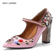 2019 New Mary Janes Women Shoes High Heel Ladies Luxury Shoes Women Designers Wedding Shoes Bride Square Heel Pointed Toe Pumps стоимость