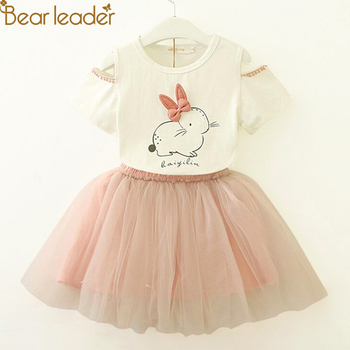 Newborn baby boy clothes cheap kids clothes Girls Clothing Sets New Summer Fashion Style Cartoon Rabbit  Printed T-Shirts+Pink Dress 2Pcs Girls Clothes Sets Girls Clothing