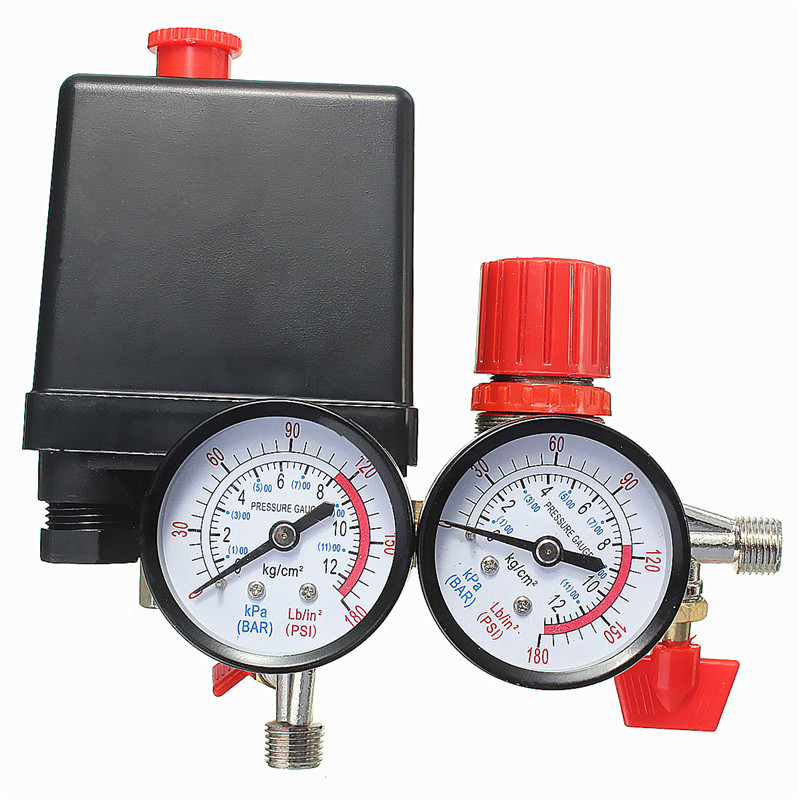 Air Compressor Pressure Valve Switch Manifold Relief Regulator Gauges 0-180PSI 240V 45*75*80mm Popular 1pc air compressor valve 1 4 180psi air compressor regulator pressure switch control valve with gauges