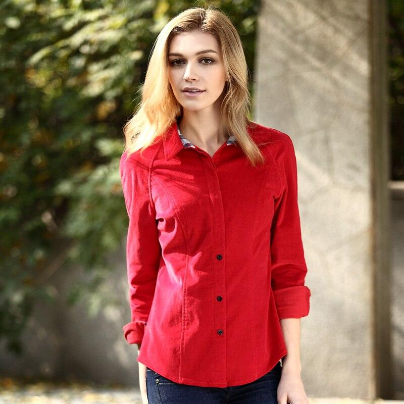 e9c4021b72 Veri Gude Primavera e No Outono das Mulheres Camisa Estilo Britânico Slim  Fit Corduroy Camisa de Manga Comprida Camisa de veludo das Mulheres alta  qualidade