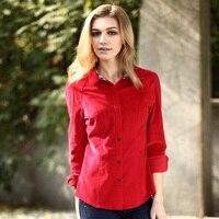 VERI GUDE Spring 2014 Female Shirt British Style Slim Fit Corduroy Pure Cotton Long Sleeve Shirt