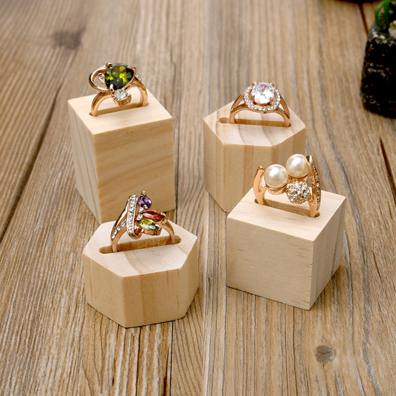 lot of 2 square or hexagonal wood ring display holder ring
