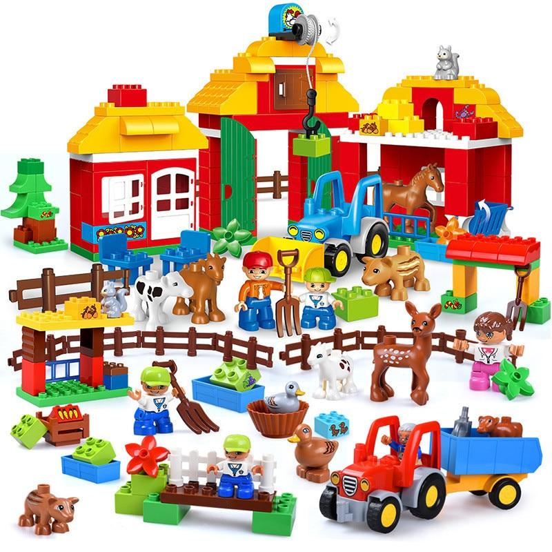 Happy Farm Partículas Grandes Blocos de Construção Conjuntos de Animais Do Jardim Zoológico Da Cidade de Carro DIY Criador Brinquedos Para Crianças Compatível Duplo Brickslegoinglys