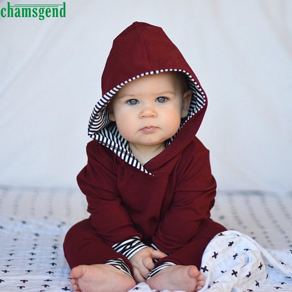 CHAMSGEND Moda 2 pz Bambino Infantile Del Bambino Della Ragazza del Ragazzo del Cotone Pieno A Righe Con Cappuccio Tops + Pants Outfits Vestiti Set ag2 P30