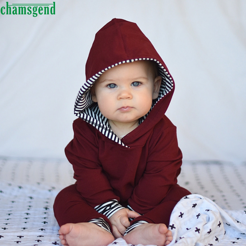 CHAMSGEND Mode 2 stücke Kleinkind kind Jungen Mädchen Baumwolle Voll Striped Mit Kapuze Tops + Pants Outfits Kleidung Set ag2 P30