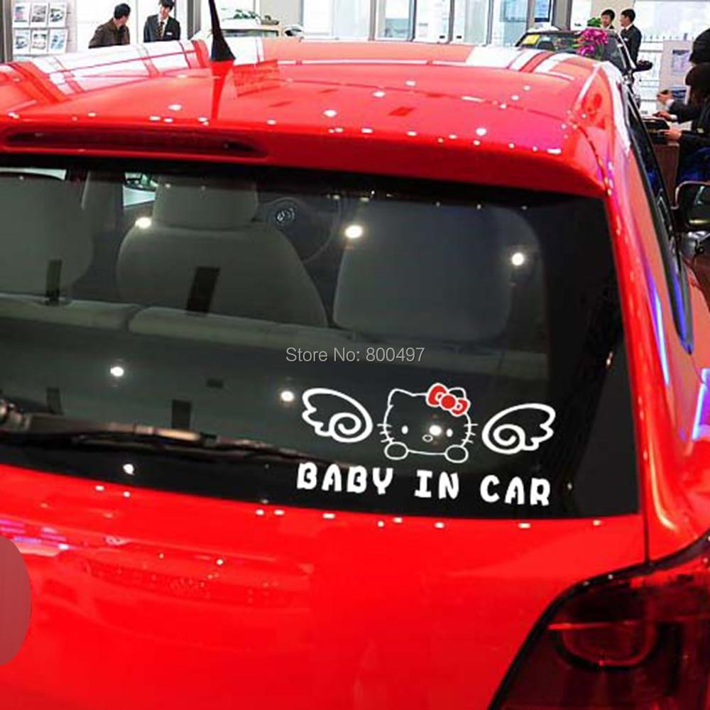 10 x Hello Kitty Baby in Car Stickers Car Decal for Toyota Chevrolet Volkswagen Tesla Hyundai Kia Lada