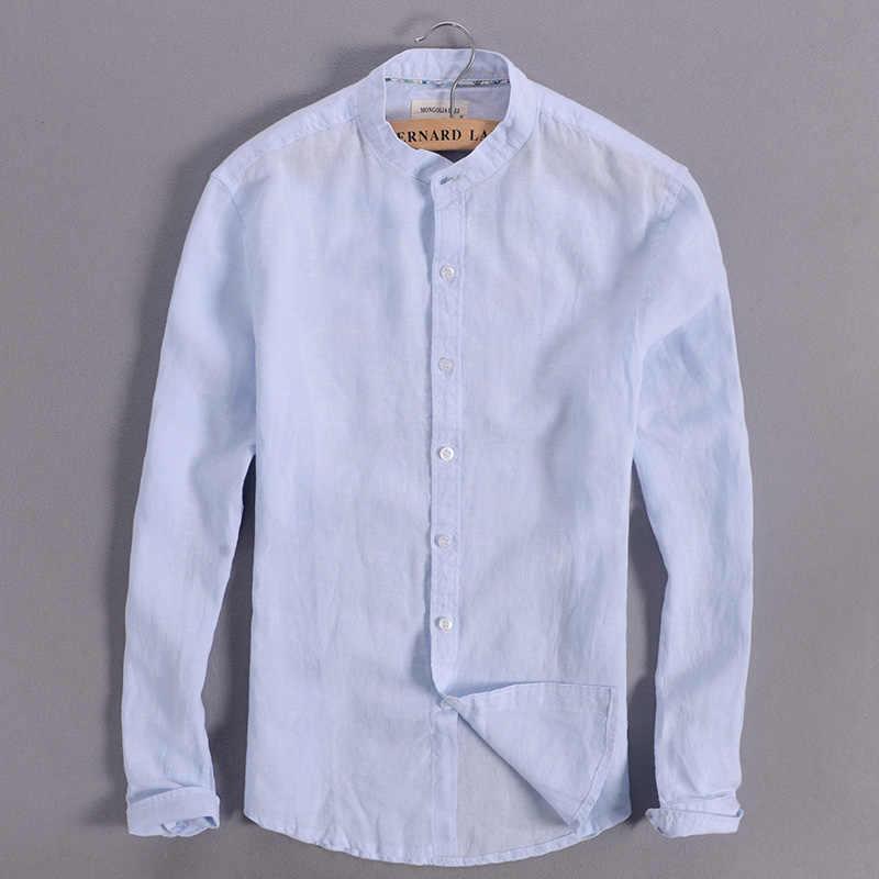 5e536a3102b Sky blue linen shirt men summer long sleeve casual men shirts slim  breathable shirt mens brand