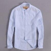 Sky blue linen shirt men summer long sleeve casual men shirts slim breathable shirt mens brand clothing mens shirts chemise 3XL