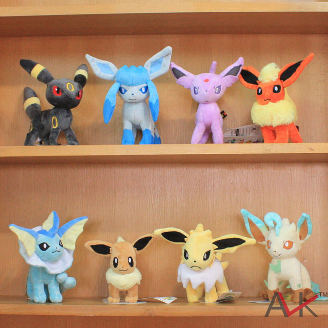 "Japan Anime Cartoon New 8pcs/lot 8"" Umbreon Eevee Espeon Jolteon Vaporeon Flareon Glaceon Leafeon Pokemon Plush Toys"
