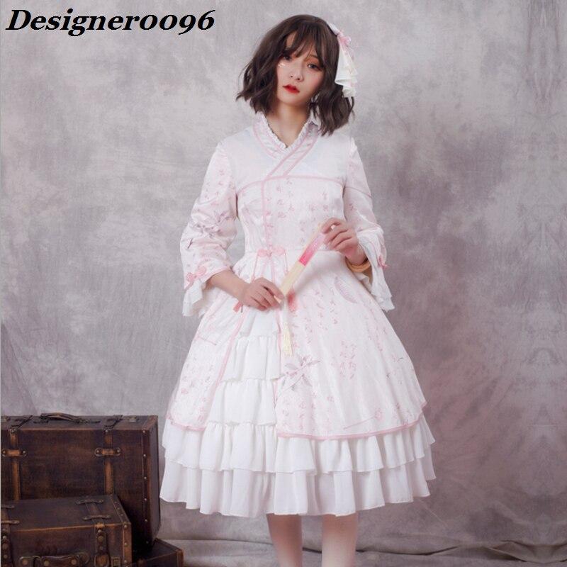 Lolita robe originale Style chinois Lolita jupe 3D impression numérique vêtements pour femmes Kimono japonais Vintage robe élémentaire adulte