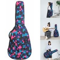 40/41 Inch Tartan Printed Folk Acoustic Guitar Case Gig Bag Double Straps Canvas Pad 10mm Cotton Thickening Waterproof Backpack