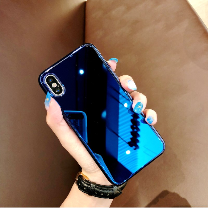 Gimfun Luxury Plating Gloss Mirror Phone Case Blue Soft Silicone Case for Iphone 6 6s 7 8 Plus X for Make Up Back Cover Capa|Fitted Cases|   - AliExpress