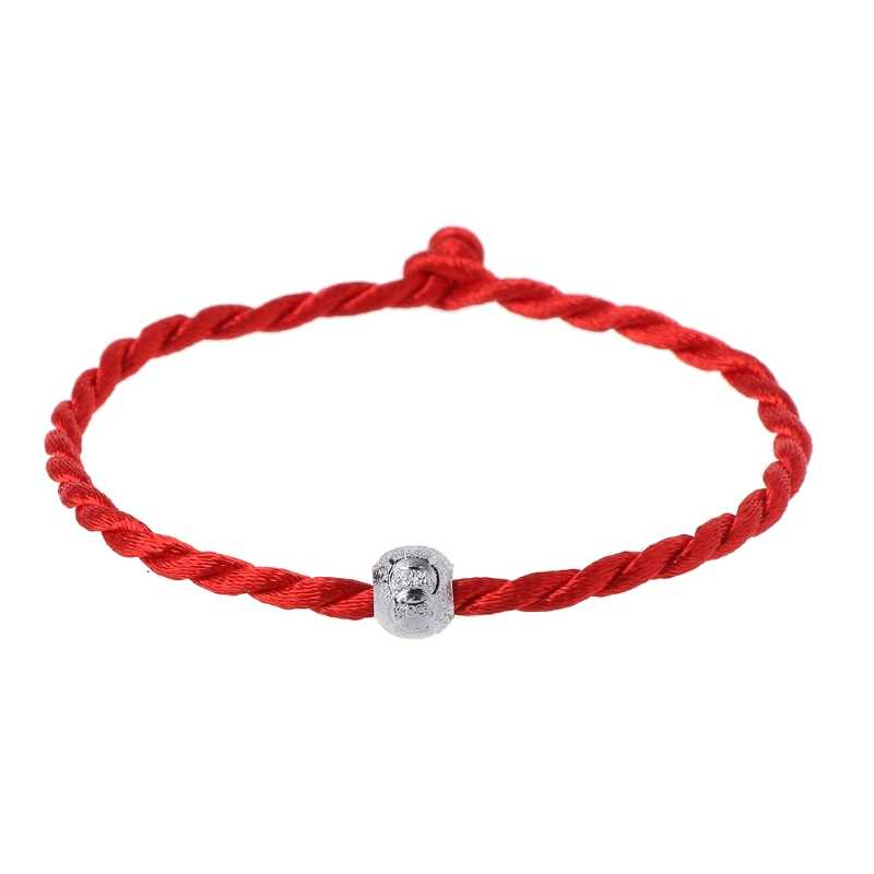 Moda Sorte Bead Budista Tibetano Pulseira Trançada Corda Kabbalah Corda Vermelha Pulseiras para Mulheres Homens Jóias Casal Amante