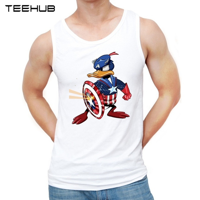 TEEHUB 2019 Engraçado Homens do Projeto Regatas Cool Marvel Capitão América Duque O-pescoço Colete Sem Mangas Casual T-shirt Dos Homens