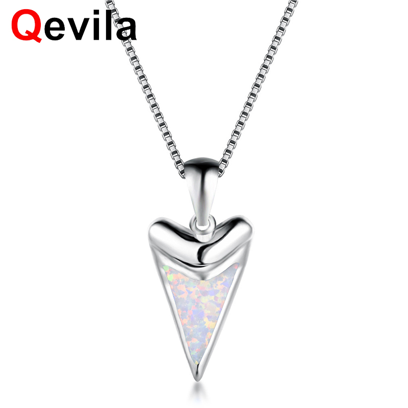 Qevila New Fashion Necklaces Jewelry Geometric Choker Chain Necklaces Real Opal Triangle Pendant Necklaces for Women Lover GiftQevila New Fashion Necklaces Jewelry Geometric Choker Chain Necklaces Real Opal Triangle Pendant Necklaces for Women Lover Gift
