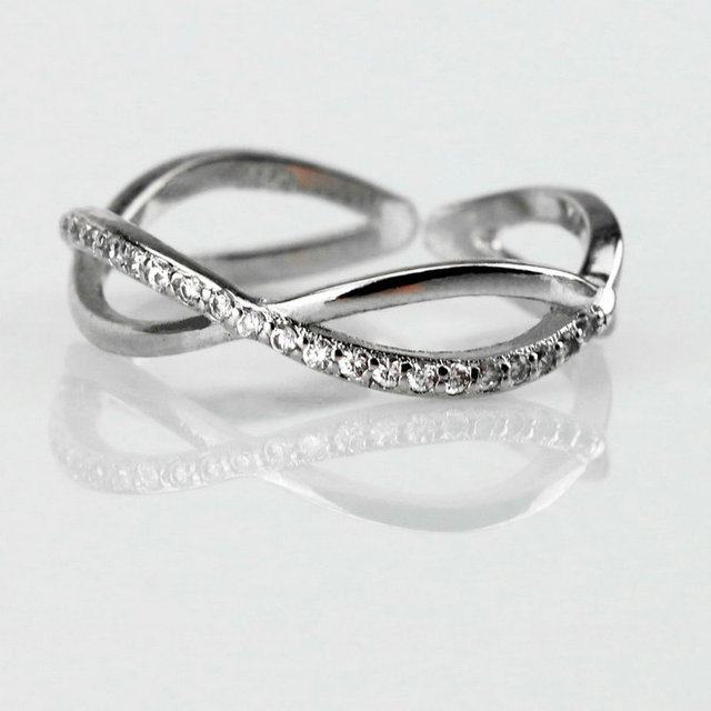 2fad380801f6e US $7.87 |Authentic 100% 925 Sterling Silver Cross Wave Ring Fashion Rings  For Women Girl 2016 Gift Jewelry bague-in Rings from Jewelry & Accessories  ...