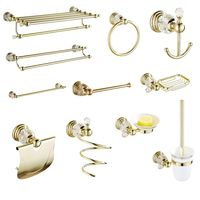 Wall Mounted Bathroom Hardware Sets Soap Dish Solid Brass Toilet Brush Holer Gold Polished Towel Rack Crystal Bathroom Products