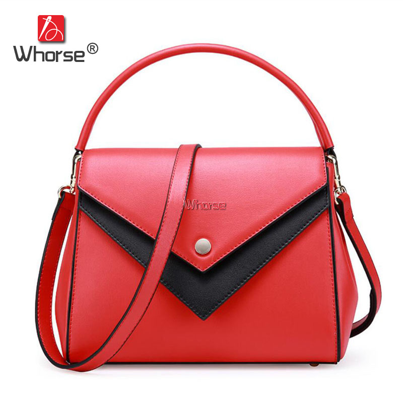 [WHORSE] High Quality Fashion Women Genuine Leather Handbags Luxury Brand Bags Ladies Messenger Bag Flap Tote Black Red W09280 [whorse] brand luxury fashion designer genuine leather bucket bag women real cowhide handbag messenger bags casual tote w07190