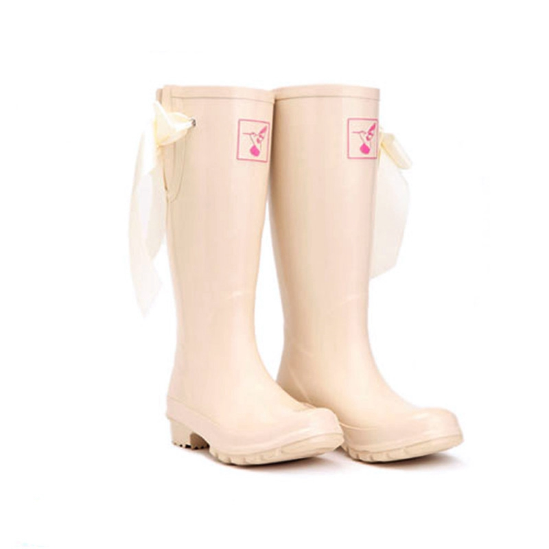 SWYIVY Rainboots Woman Rubber Shoes 2018 Autumn Pink Lace Up High Top Rain Boots Lady Wellies Comfortable 41 Water Shees rubber high red zipper boots horse riding gumboots rainboots women rain boots botte de pluie stivali donna wellies bot