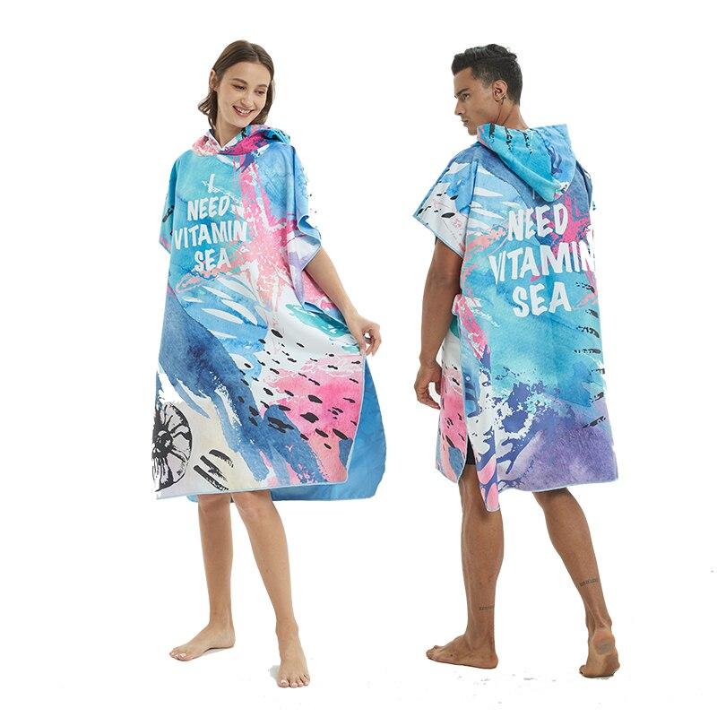 Быстросохнущий гидрокостюм с микрофильтром, пеленальный халат, пончо для пляжного бассейна, пляжное полотенце пончо