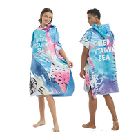 Quick Dry Microfier Wetsuit Changing Robe Poncho for Beach Pool Swim, Beach Towel Poncho