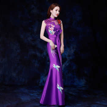 Traditional Embroidery Women Cheongsam Royal Lady Evening Party Mermaid Dress Sexy Sleeveless Qipao Mandarin Collar Vestidos