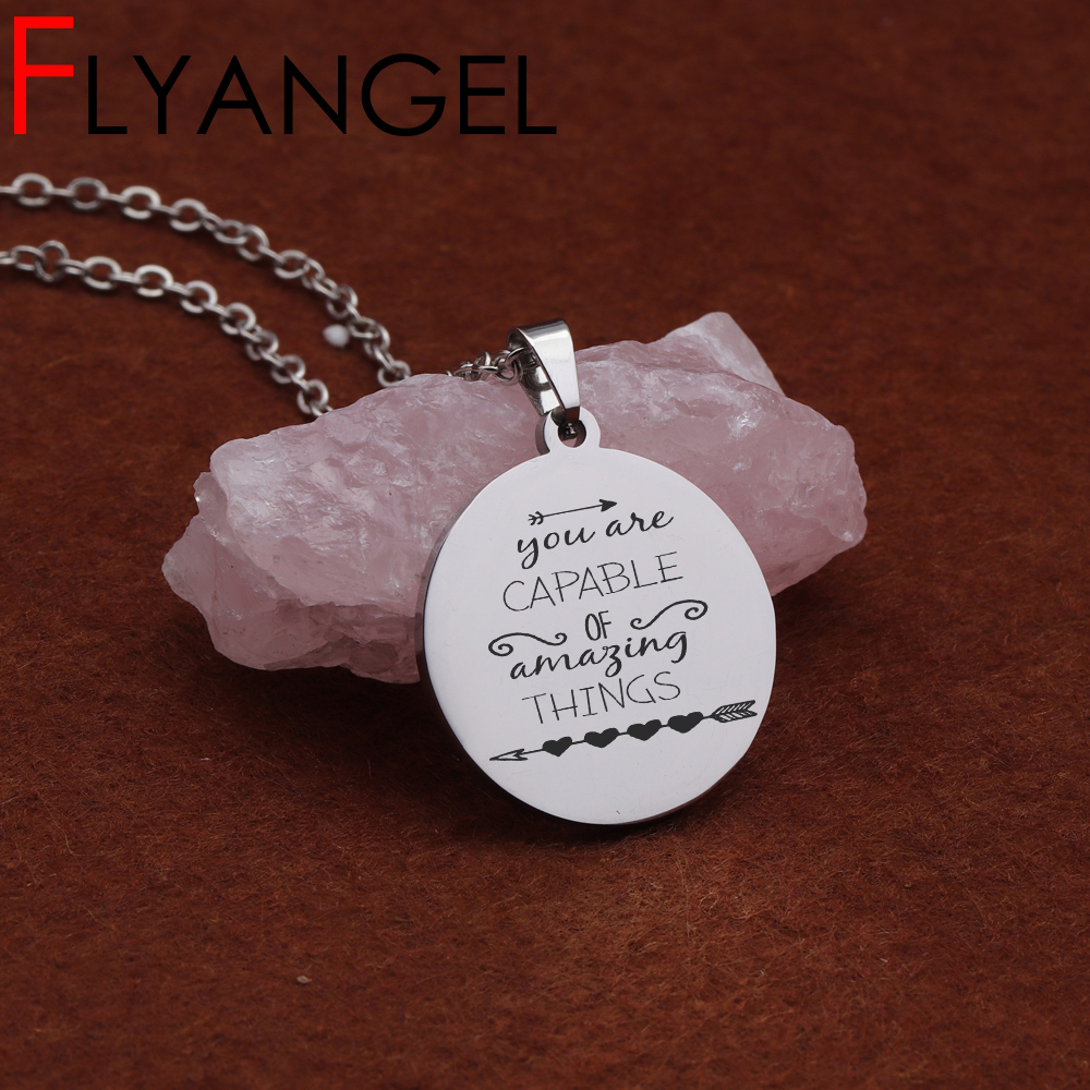 Buy New Fashion Lettering Pendant Necklace Engraved You Are Capable Of Amazing Thing Mirror Style High Quality Jewelry Beautiful Tag for only 4.42 USD