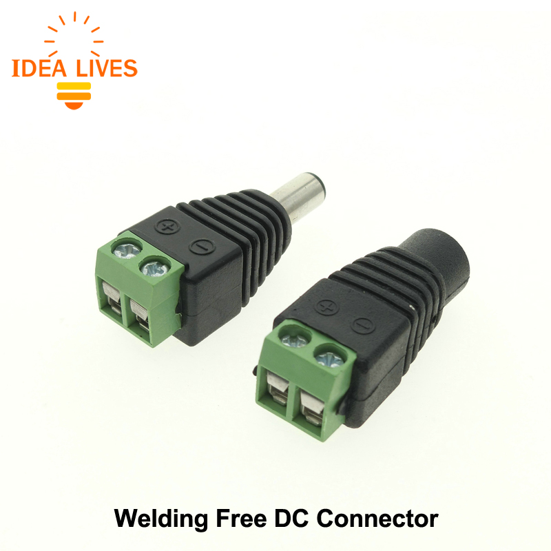 DC Connector for LED Strip Free Welding LED Strip Adapter Connector Male or Female, 5pcs/Lot. dc connector female connector