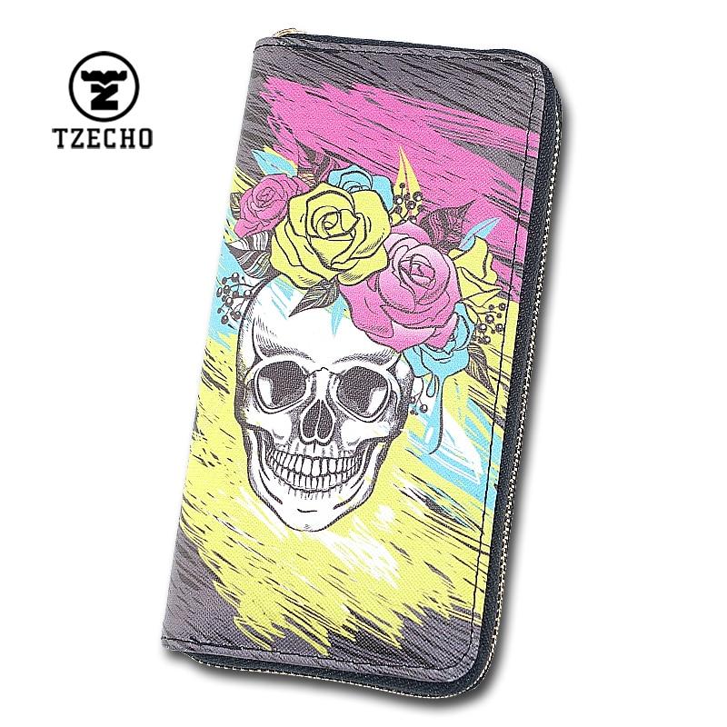 TZECHO Women Wallets Long Zipper Wallet for Women With Phone PU Cartoon Skull Head Ladies Clutch Purses Rfid Credit Cards Holder