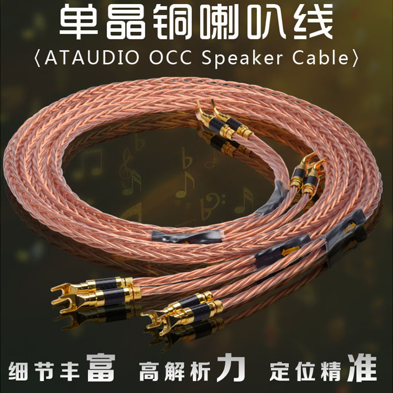 ATAUDIO Hifi 7N OCC Speaker Cable High Quality Speaker Cord With Carbon Fiber Gold plated Banana