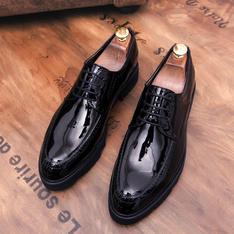 5ca304a95ec Aliexpress.com   Buy designer platform formal men leather shoes elegant  italian high heel brand dress male footwear business brogue oxford shoes men  from ...