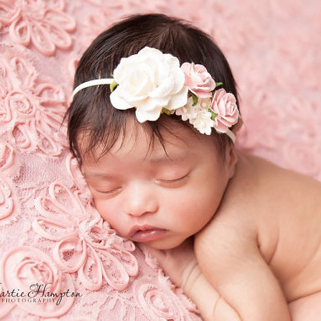 2018 new arrivals newborn flower headbands photography props girls rose flower headwear newborn hair bands hair