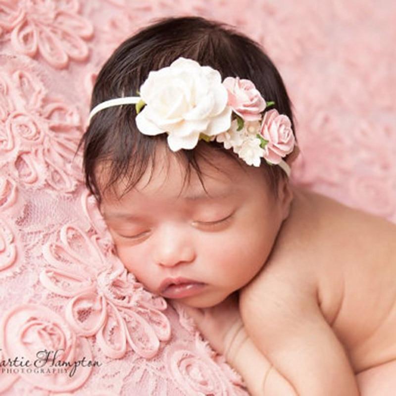 2018 New Arrivals Newborn Flower Headbands Photography props Girls Rose Flower   Headwear   Newborn Hair Bands Hair Accessories