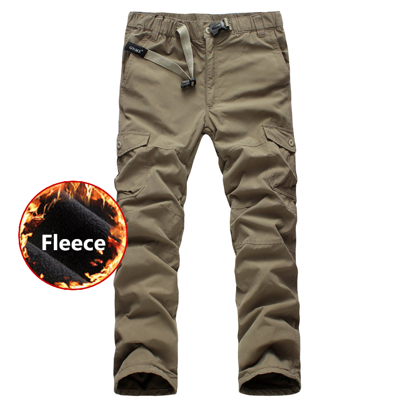 Men Fleece Tactical Cargo Pants Winter Double Layer Thick Warm Baggy Pants Men Outdoor Jogger Military Army Cargo Pants Trousers