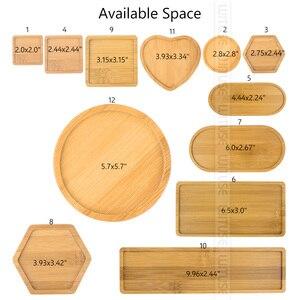 Image 3 - Natural bambu redondo quadrado tigelas placas para suculentas cerâmicas vasos de flores bandejas base jardim decoração para casa artesanato