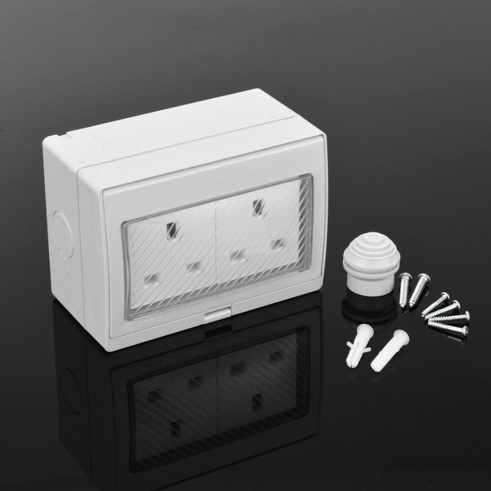 Mayitr Outdoor IP55 Grade 13A 2 Bit Socket Wall Waterproof Dust-proof UK Standard Power Socket Electrical Outlet With Cover ip55 british marked outdoor waterproof 13a socket british socket british splash socket british standard socket 10a 110v 250v