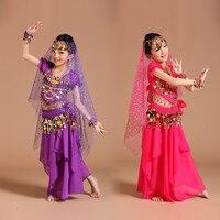 2017新しい女の子ベリーダンス衣装2-4-5-6Pcsシフォンスパンコール服子供のための魔神フリンジダンスパンツジプシー服