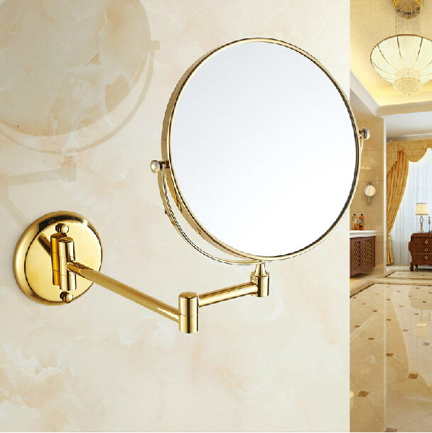Fashion Wall Mount Bathroom Cosmetic Mirror Golden Brass 8 Folding Telescopic Magnify Beauty