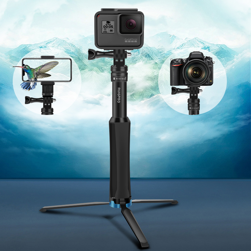 Image 3 - 2in1 Tripod Selfie Stick For iPhone samrtphone Foldable Monopod &Mini Tripod for GoPro hero 8 7 Xiaomi Yi Osmo action camera-in Selfie Sticks from Consumer Electronics